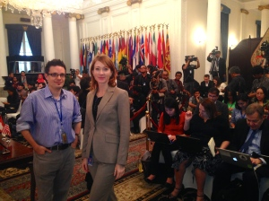 Ben Bland Financial Times & Helen Brown ABC, Foreign Affairs Ministry Main Hall