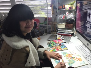 Indonesian born artist Nani Puspasari at her home studio in Windsor, Melbourne, Australia.